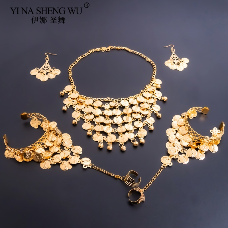 1/2pcs Set Belly Dancing Accessories Women Indian Belly Dance Necklace Earrings Gold Silver Set Belly Dance Accessory Wholesale