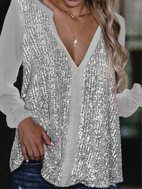 2021 Sexy V Neck Long Sleeve Sequined Solid Color Women Shirts Spring Casual Pullover Patchwork Loose Blouse 2
