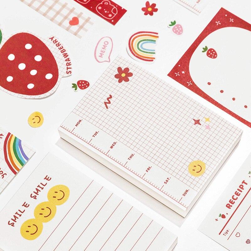 100 pçs bloco de memorando kawaii notas a fazer lista notas pegajosas bloco de notas papelaria decorativo escola material de escritório papelaria