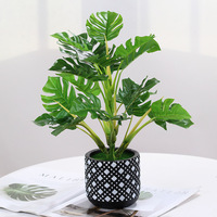 Nordic style cement pot simulation turtle back leaf green plant potted fake plant bonsai TV counter desktop decoration ornaments