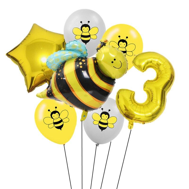 7 шт 12 дюймов мультфильм пчела латексные шары 0-9 Количество фольги воздушный шар набор надувной шар для детского душа детский день рождения партии поставки-2