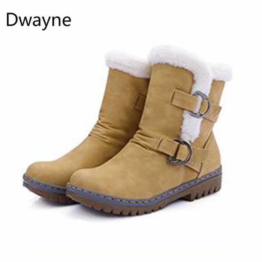 Moda kışlık botlar kadın kar botları düz topuklu kış ayakkabı sıcak kürk çizme orta buzağı bahar sonbahar kadın ayakkabısı artı boyutu 452