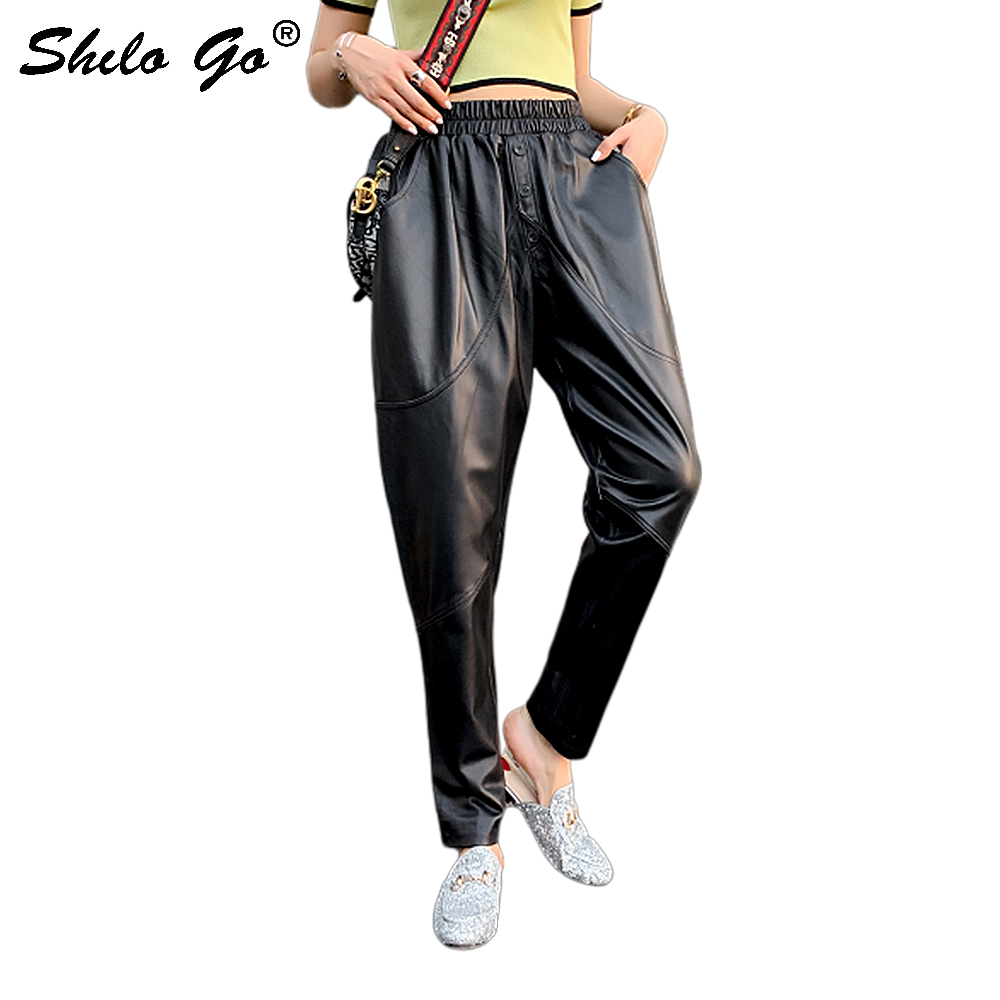 Genuine Leather Pants Plus Size Black Button Front Solid Harem Pants 2020 Women Casual Autumn Elastic High Waist  Crop Trousers