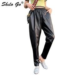 Pantaloni di Cuoio genuino Più Il Formato Nero Pulsante Anteriore Solido Pantaloni stile harem 2020 Delle Donne casual Autunno Elastico Vita Alta Crop Pantaloni