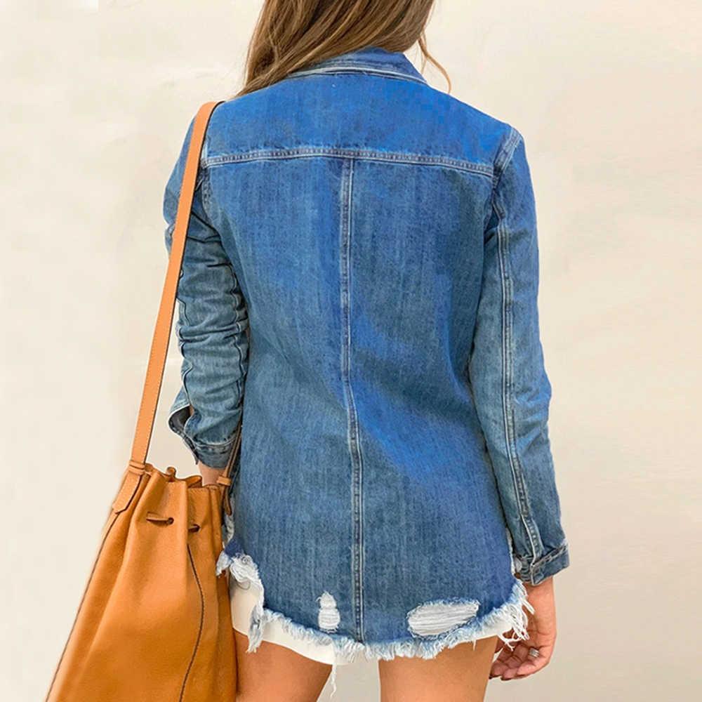LASPERAL Frauen Taste Unten Denim Hemd Herbst Langarm Drehen Unten Kragen Jean Jacke Schlank Feminime Jaqueta Zerrissene Mantel Outwear