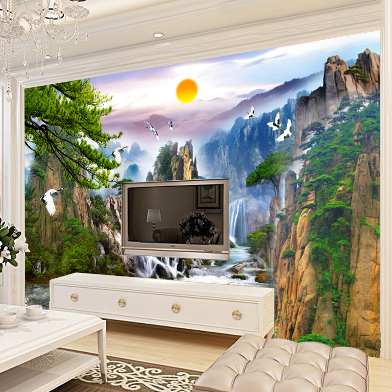 Background Of Television In The Drawing Room Wallpaper Chinese Style 3D Non-woven Wallpaper Bedroom Large Mural Landscape Painti