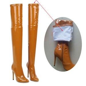 Image 4 - 2021 botas de salto alto sobre o joelho botas femininas estiramento coxa botas altas senhoras outono inverno botas longas cuissardes sexy mais siz