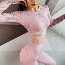 Sem costura de manga longa yoga terno roupas de treino ginásio roupas de fitness feminino respirável sportwear yoga conjunto esporte fitness terno
