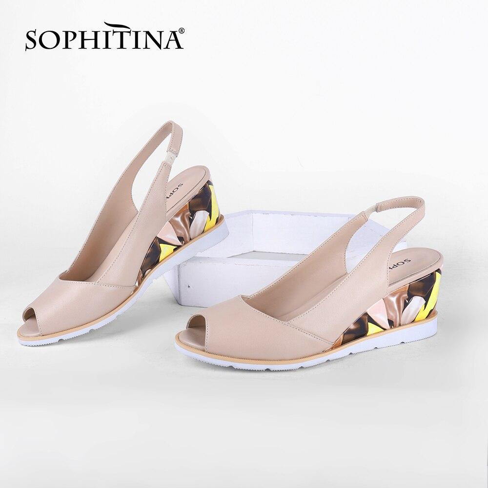SOPHITINA Fashion Women Sandals Sweet Genuine Leather Handmade Peep Toe Wedges Platform Sandals Summer Casual Women Shoes SC720