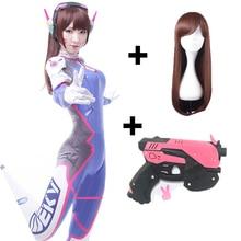 Dva Cosplay  CostumeGame Overwatch Female/Women/Girls Lycra 3D Printing Spandex Halloween Party Zentai Wig Suits Gun D.Va cos