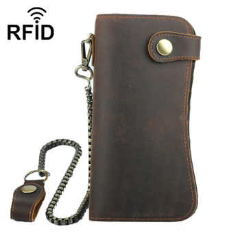 GROJITOO 2020 New Genuine Leathe Rfid Mobile Phone Bag Crazy Horse Leather Men\'s Wallet Cowhide leather large capacity Bag