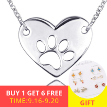 XiaoJing 100% 925 sterling silver diy design love heart shape dog footprint chain necklace fashion jewelry making women gifts