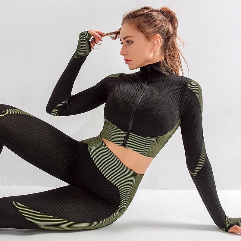 Women Long Sleeve Yoga Set Zipper Top Sport Suit Workout Clothes Gym Fitness