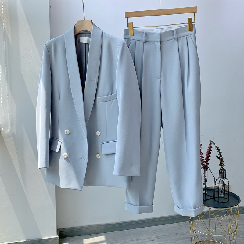 Spring Women's Set Blazer Suit Casual Solid Color Double-breasted Suit Loose