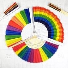 Verano Vintage plástico hueso Arco Iris plegable mano abanico danza China hogar manualidades de decoración de fiesta temática de boda