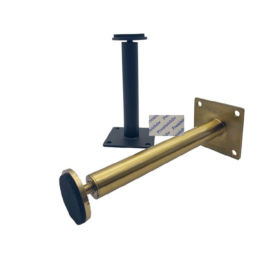 4Pcs/Lot Matte Black Titanium Gold Stainless Steel Round Slim Stem Furniture Cabinet Cupboard Feet Leg With Leveling Pad