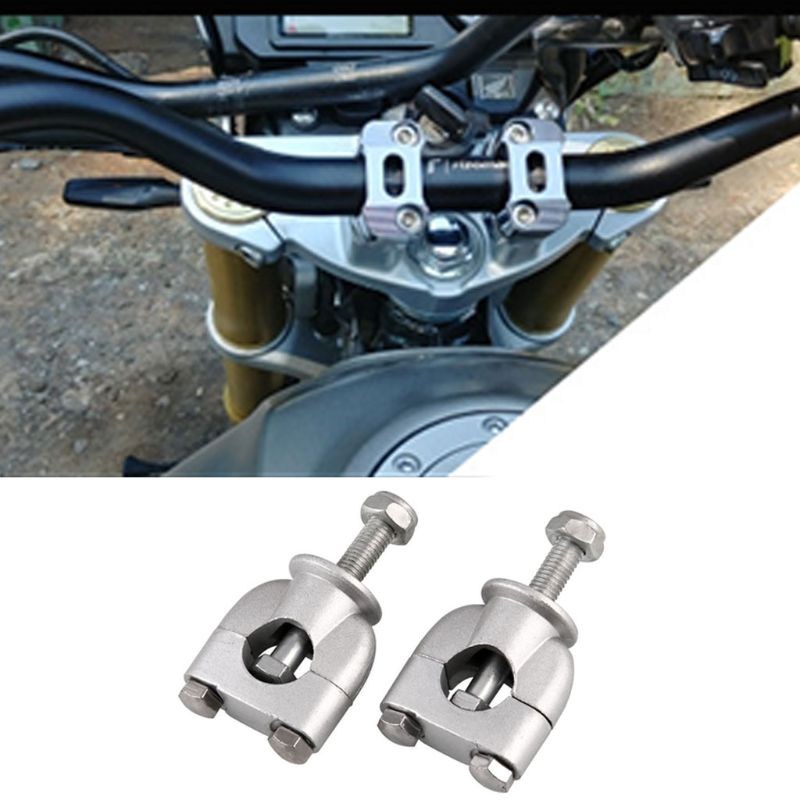 2 Pcs 22mm Motorbike Handle Bar Risers Clamp Motorcycle Mount Silver Parts