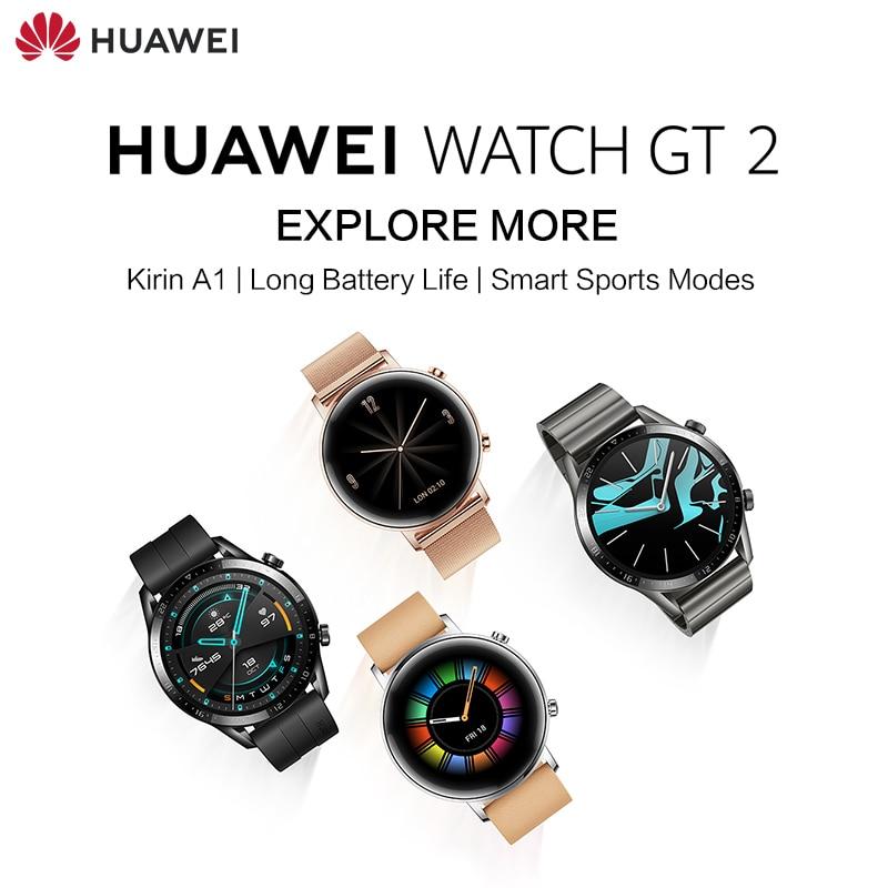 HUAWEI WATCH GT 2 4GB Phantom Black Viton Strap 5ATM Channel LTN-B19 Kirin A1 Long Battery Life Smart Sports Modes 3D Glass