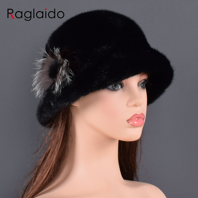Natural fur bucket hats for women Winter caps Genuine Fur Lined Beanies fox fur flower hats Real mink fur and fox fur Handmade