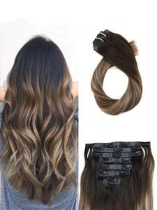 Moresoo Human-Hair-Extensions Natural-Hair Pu-Clip Seamless Remy Brazilian Straight-Machine
