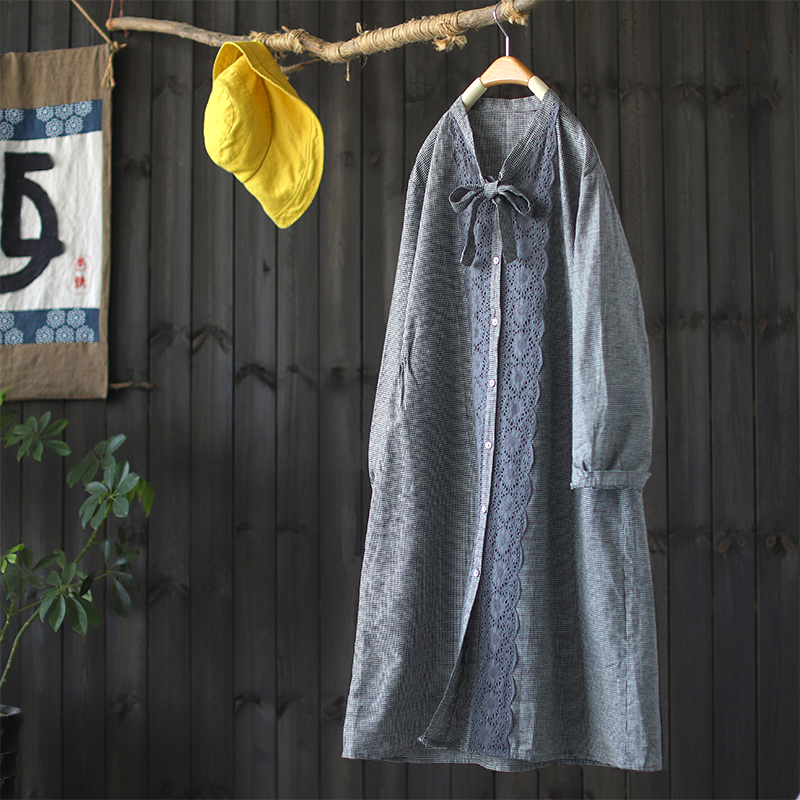 Bouton femmes broderie robe avec dentelle col en V manches longues coton lin automne chemise robes décontracté coréen vestidos 2019 festa