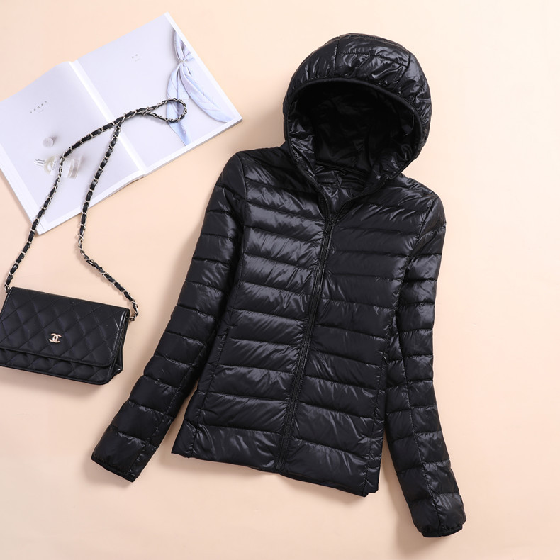Women Winter Parkas Lightweight Down Jacket Female Hooded Short Large Size Solid Color Ladies Jacket Slim Warm Coat AEHQ0124 in Parkas from Women 39 s Clothing