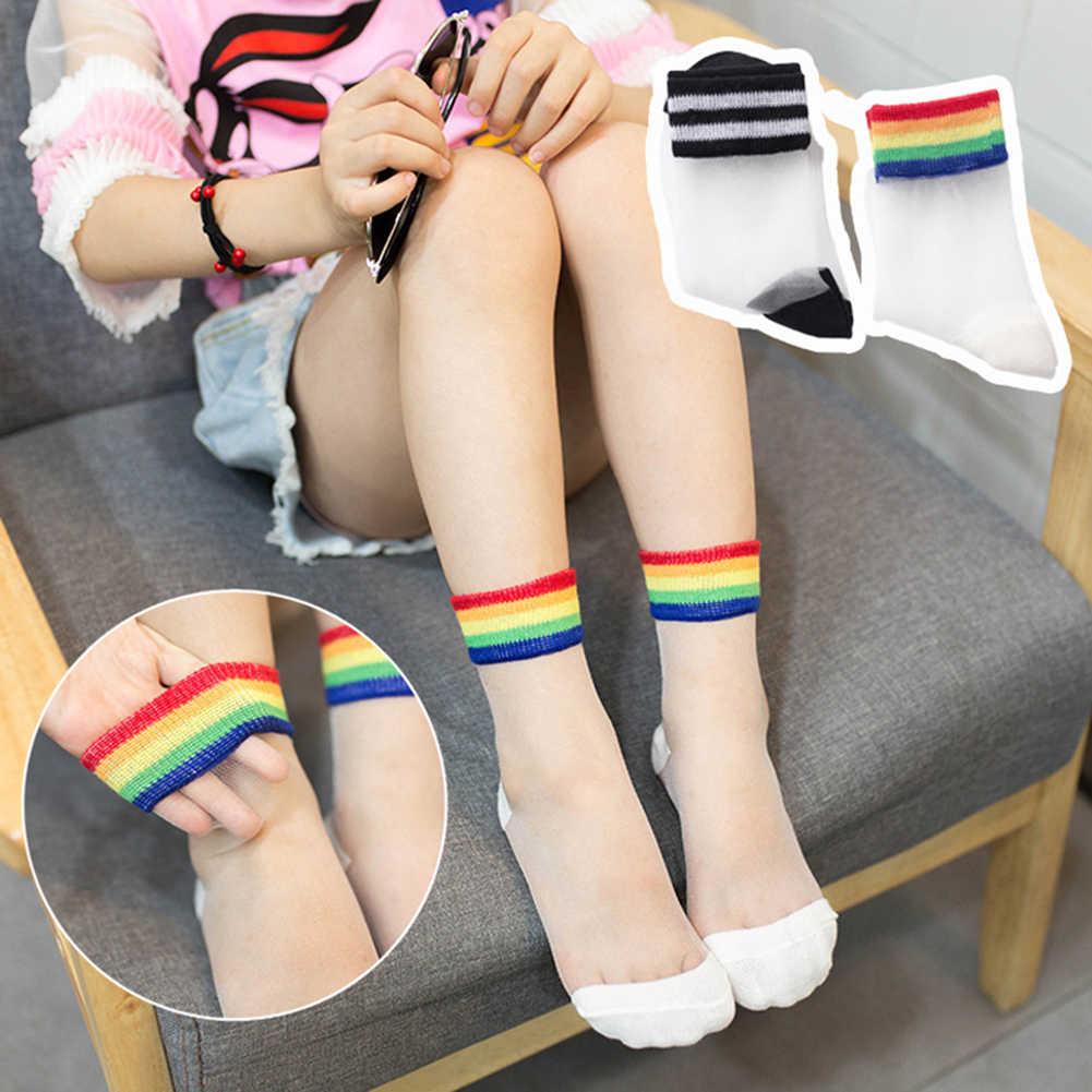 インスタイルのファッション透明な虹ショートソックス女性の夏の薄い原宿足首のヒップスターストッキング美術低かわいい靴下 Fmale ソックス