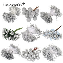 8/10/12/90/144pcs Silver Mixed Hybrid Flower Cherry Stamen Berries Bundle DIY Cake Christmas Wedding Gift Box Wreath Decor D0605(China)