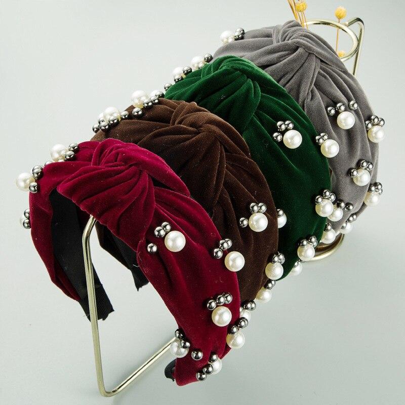 Купить простые бархатные жемчужные повязки для волос cn девочек и женщин