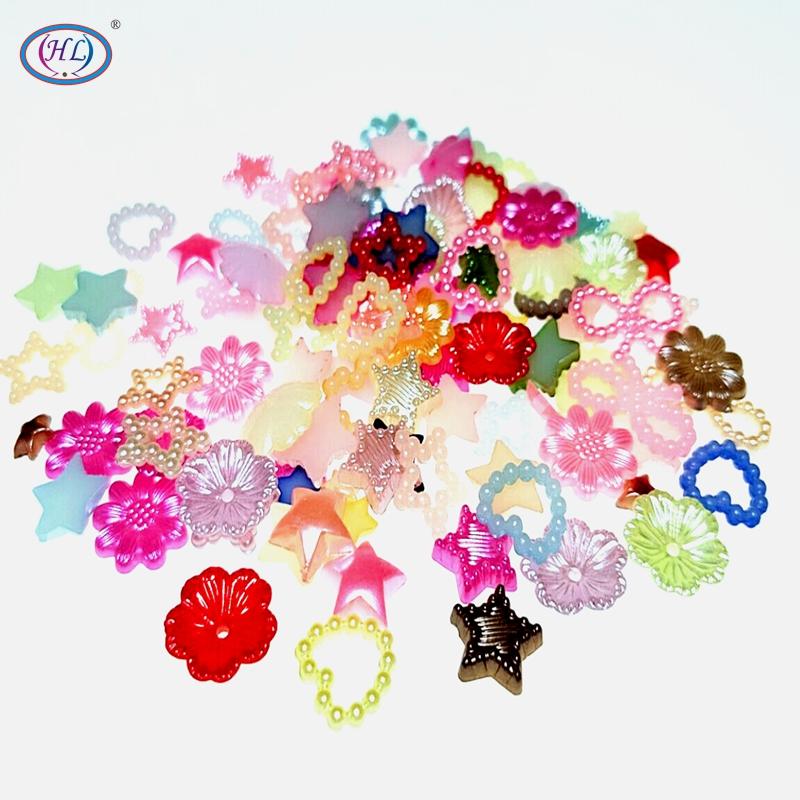 HL 100/300PCS 6-12MM Mix Colors Random Flower Star Heart ABS Flatback Loose Beads DIY Garment Crafts