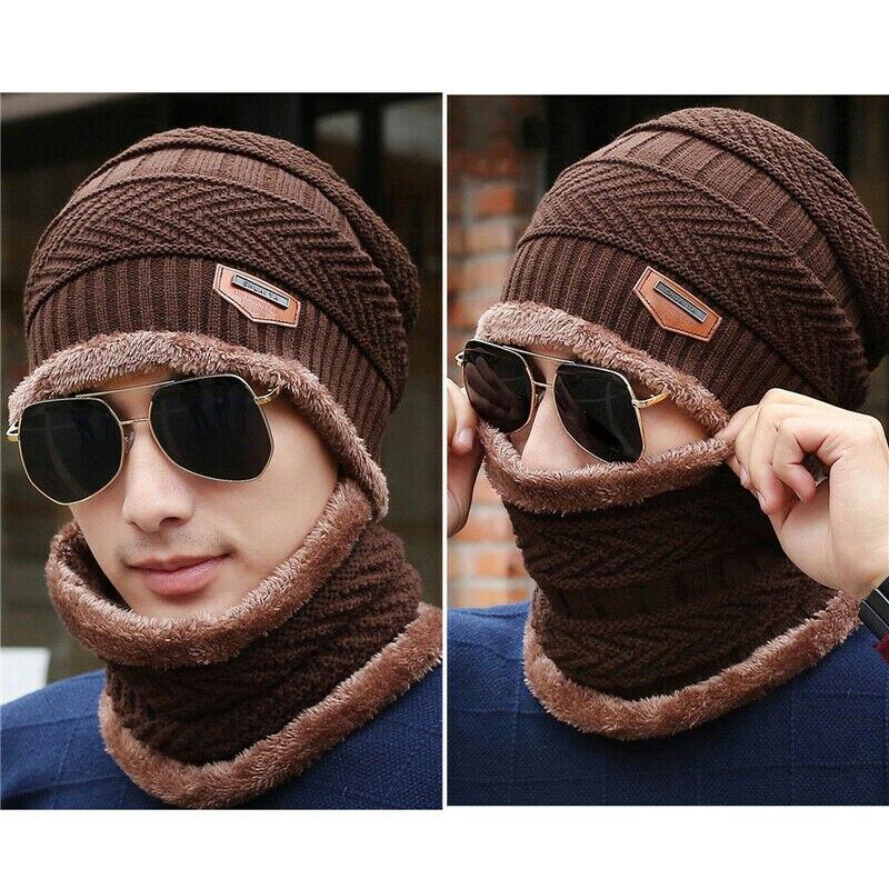 Meihuida Winter Men Casual Knitted Fleece Beanie Hat + Scarf Neck Warmer Thermal Outdoor Activity Ski Caps Set