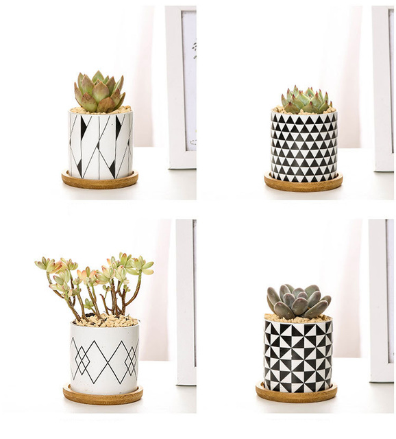 Modern Geometric Pattern Ceramics Flower Pot