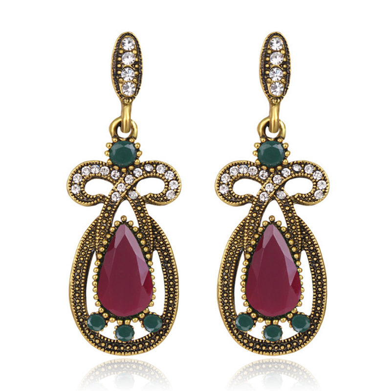 Famous ethnic style, fashionable, small and retro earrings, alloy inlaid with diamonds, multi-color gem earrings for women