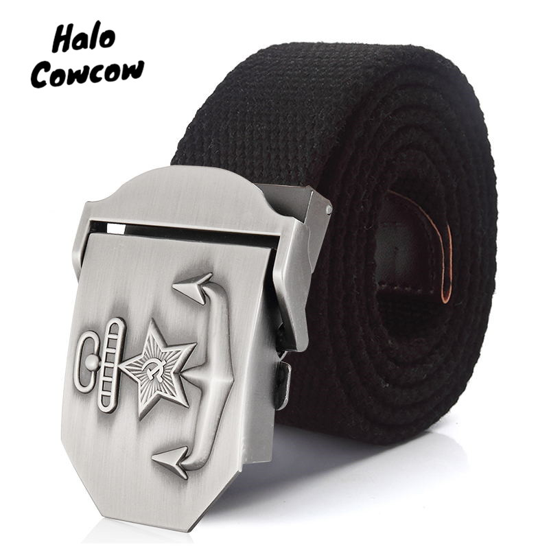 2020 Anchor Designer Canvas Belts Military Belt Outdoor Tactical Men 140 150 160 Cm Automatic Buckle Canvas Waist Belt For Jeans