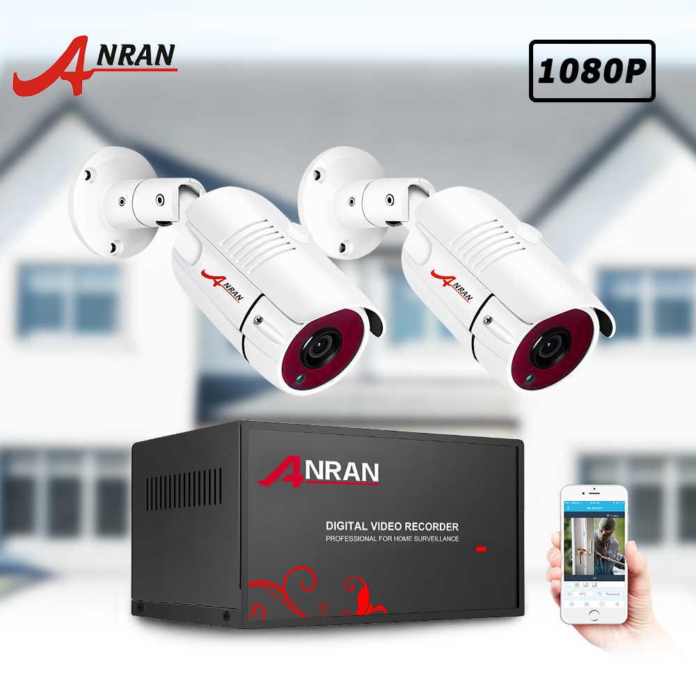 ANRAN 2CH wideo zestaw do nadzorowania 2.0MP ahd dvr zestaw system cctv kamera ahd zestaw IR Night Vision kamera zewnętrzna H.265 odporne na warunki atmosferyczne