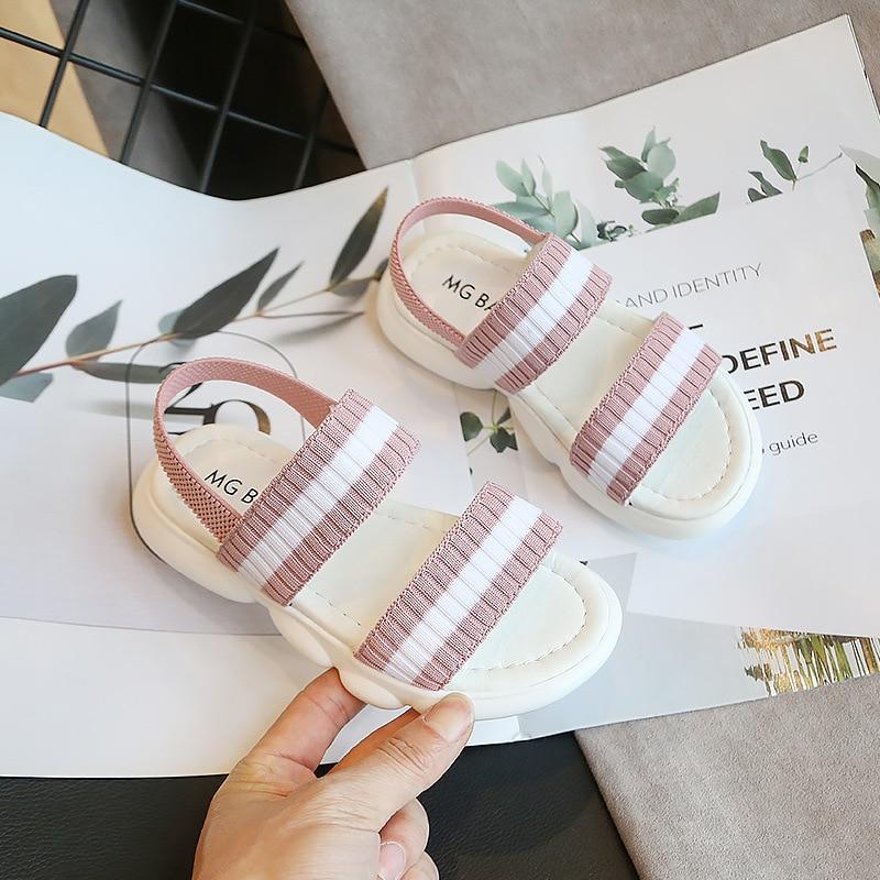 SKHEK Children Shoes Rome Microfiber Flat Beach Shoes Gladiator Girls Sandals Kids Summer Shoes For Girls Casual Sandals