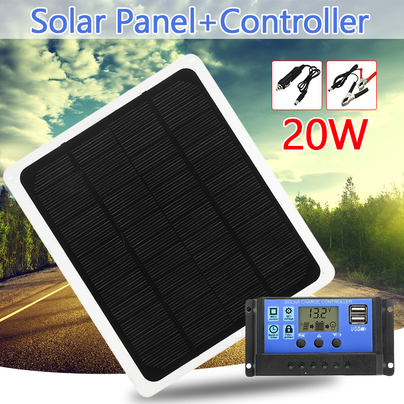 20W 12V Dual Output Solar Panel with Car Charger + USB Solar Charger 10/20/30/40/50A Controller for Outdoor Camping LED Light image