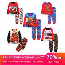 Новый пижамный комплект Mcqueen для мальчиков, детская одежда для сна с изображением 95 машин милые домашние пижамы для девочек Детский комплек...