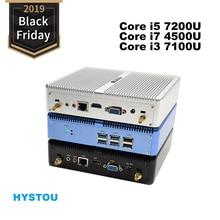 Core i5 7200U i7 5550U HYSTOU Мини ПК Windows 10 HDMI VGA двойной дисплей порт мини HTPC мини компьютер Linux i3 7100U 4K ТВ коробка ПК