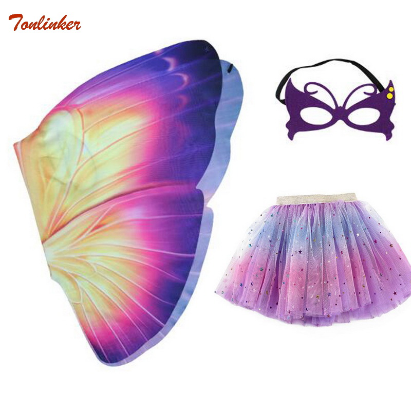 Halloween Girls Butterfly Print Wings Shawl Scarves Poncho Costume Kids Fairy 3-Layers Tutu Skirts Mask Cosplay Party Costume