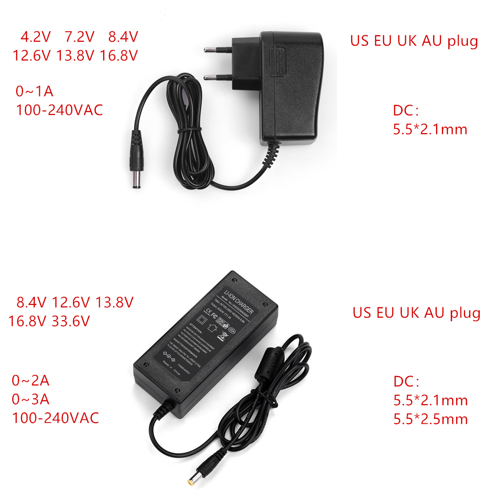 AC-DC 4,2 V 8,4 V 12,6 V 16,8 V 1A 2A 3A зарядное устройство адаптер питания 4,2 V 8,4 V 12,6 V 16,8 V 1000MA для 18650 литиевая батарея