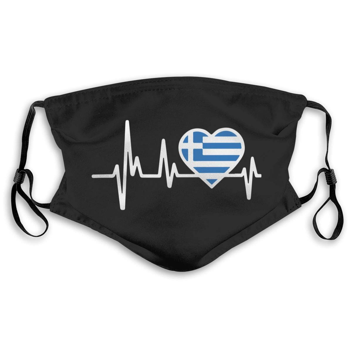 Greece Heartbeat Flag Unisex Anti-Pollution Mask Dust Mask With Filter Mask Black