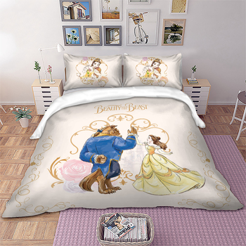 Beauty and the Beast Bedding set Disney Duvet Cover Pillowcases Kids bed set Twin Full Queen King Size dropshipping bedding twin set simona barbieri beauty case