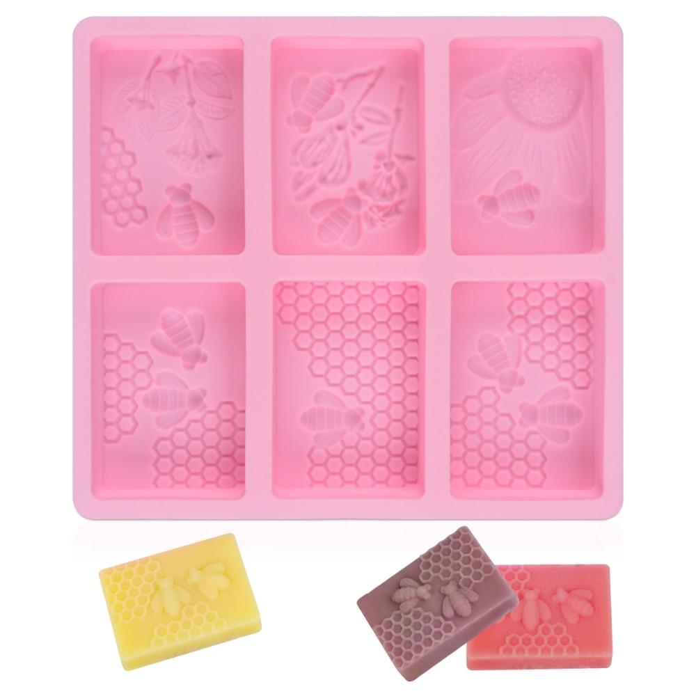 Sj molde de silicone para sabão, molde de resina retangular para trabalhos domésticos