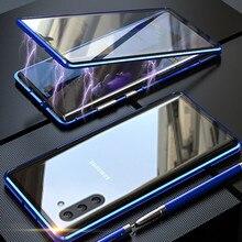 קדמי + אחורי דו צדדי מזג זכוכית מקרה לסמסונג גלקסי הערה 10 + 5G S9 S8 S10 בתוספת S10E הערה 10 בתוספת 5G 9 8 מגנטי מקרה