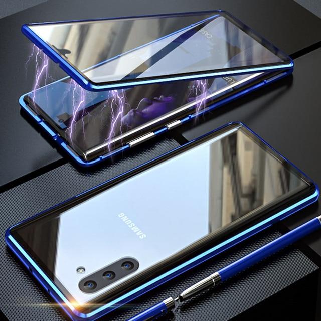 Frente + Voltar Double Sided Caixa De Vidro Temperado Para Samsung Galaxy Note 10 + 5G S9 S8 S10 além de S10E Nota 10 Plus 5G 9 8 Caso Magnético