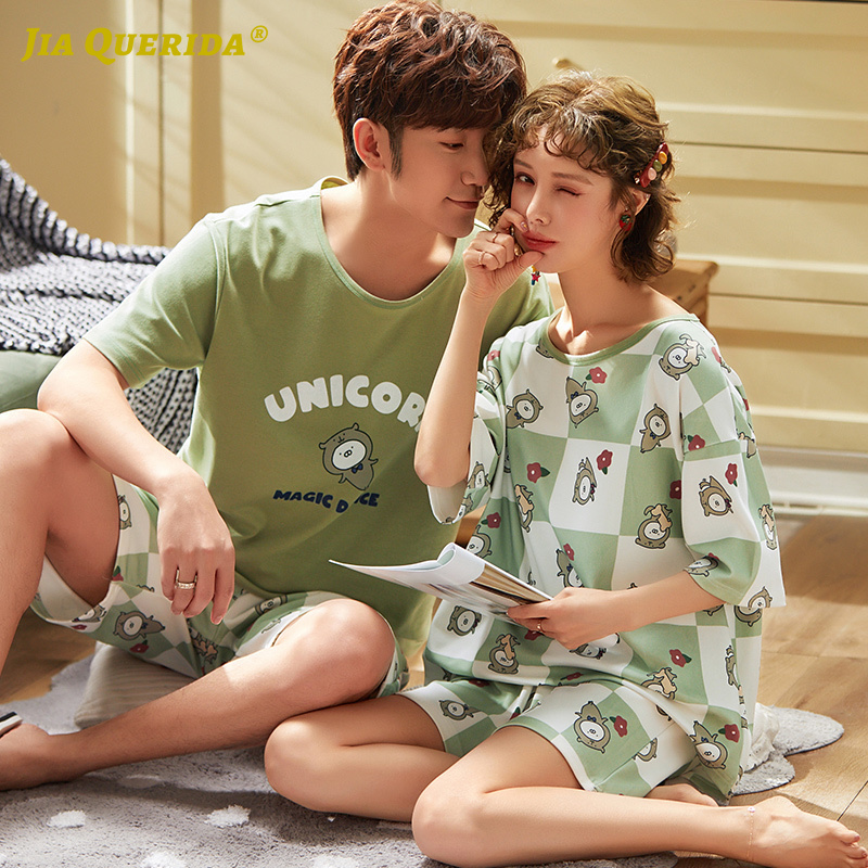 Loungewear Fashion New Kawaii Sleepwear Pajamas Set Homesuit Homeclothes Cartoon Printing Green Printing Couple Pajamas Pj Set