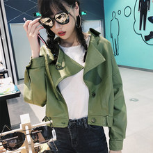 Autumn Faux Leather Jacket Turndown Collar Women Loose Long Sleeve Single Breasted Motorcycle Leather Coats(China)