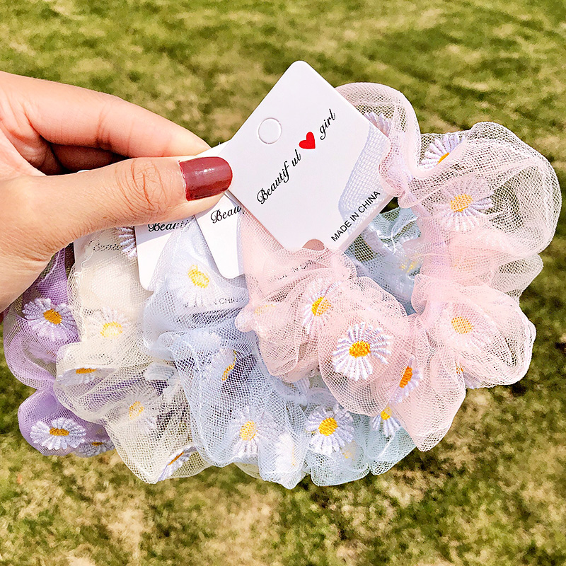2020 New Summer Elegant Chiffon Scrunchie For Women Girls Tie Ponytail Holder Elastic Hair Rubber Bands Fashion Hair Accessories