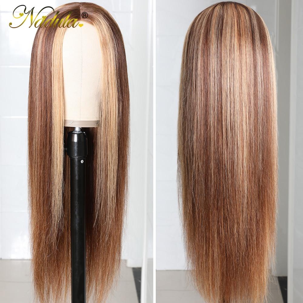 Nadula Hair Honey Blonde Brown Wig 13x4 HighLight Straight Hair Wig  100%  Wig 150%Density Piano Color 2